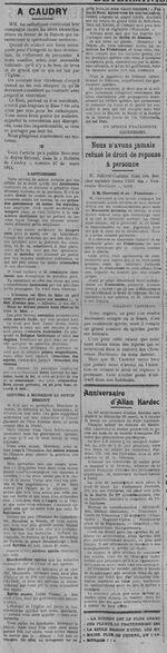 À Caudry (Le Fraterniste, 20 mars 1914)