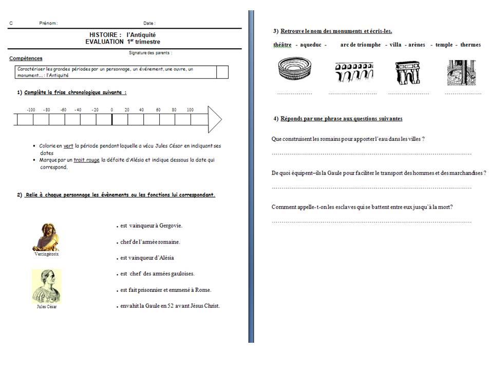 Evaluation Sur L Antiquite Loustics