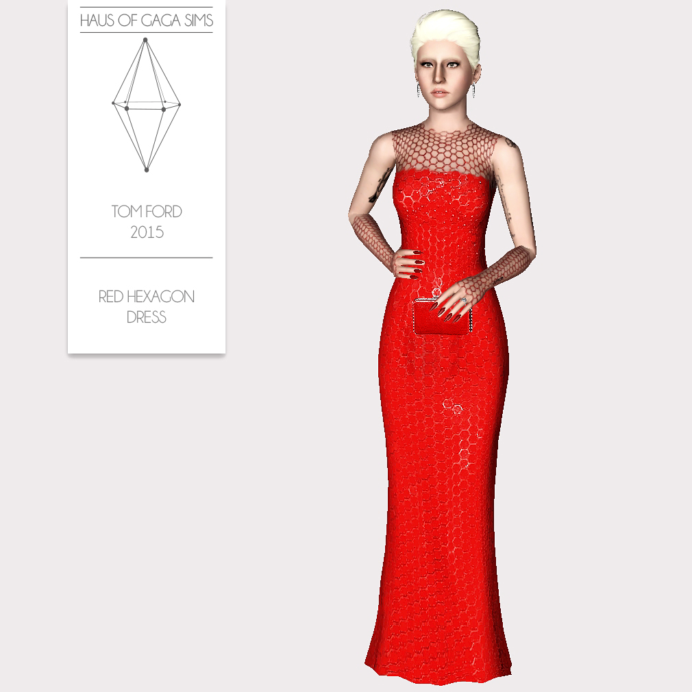 TOM FORD 2015 RED HEXAGON DRESS