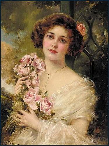 Emile Vernon, Jeune femme aux roses