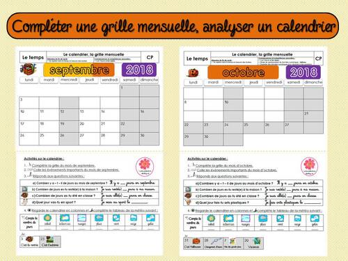 Compléter une grille mensuelle, analyser un calendrier
