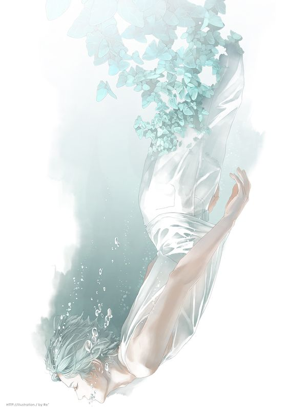Re°, White Pants, Water Bubbles, Upside Down, Sleeveless Shirt, Underwater: