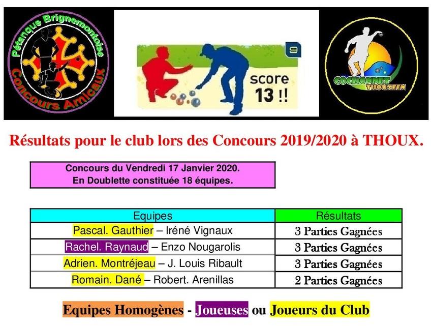 6 ième concours du Vendredi à Thoux.