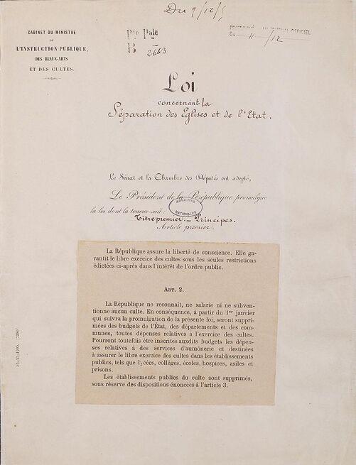 Description de l'image Loi de séparation des églises et de l'État. Page 1 - Archives Nationales - AE-II-2991.jpg.