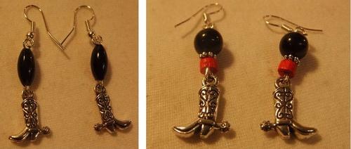 Boucles d'oreilles country santiags avec leurs perles rouges et noires