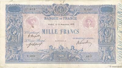 LE BILLET 1 000 FRANCS BLEU ET ROSE