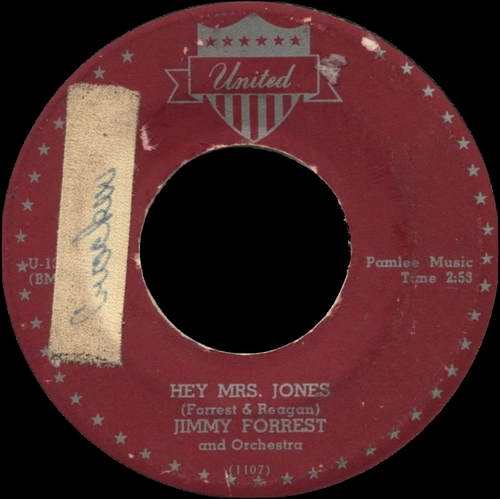 "Jimmy Forrest : Single "" Hey Mrs Jones "" SP United Records U-130 [ US ]"