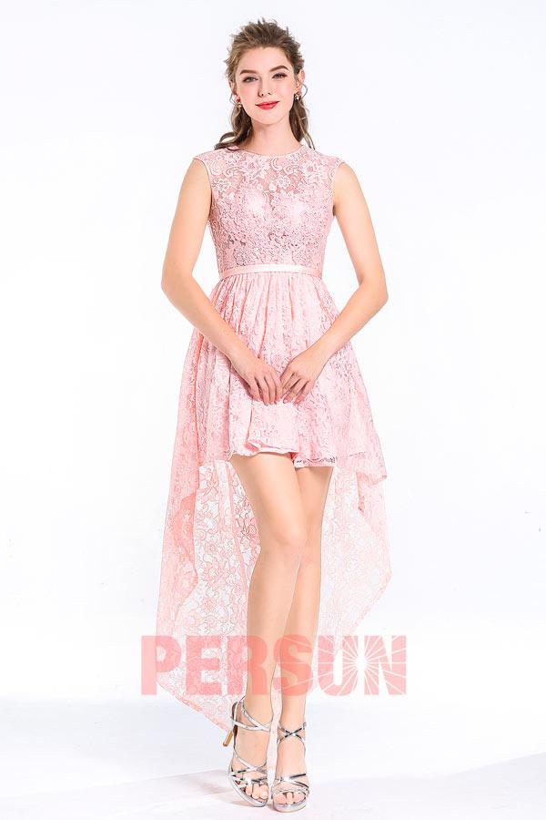 Robe de soirée rose florale avec l'ourlet courte devant longue derrière & encolure arrondie