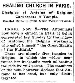 HEALING CHURCH IN PARIS (The New York Times 11/09/1913)