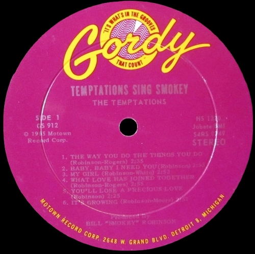 "The Temptations : Album "" The Temptations Sing Smokey "" Gordy Records GS 912 [ US ]"