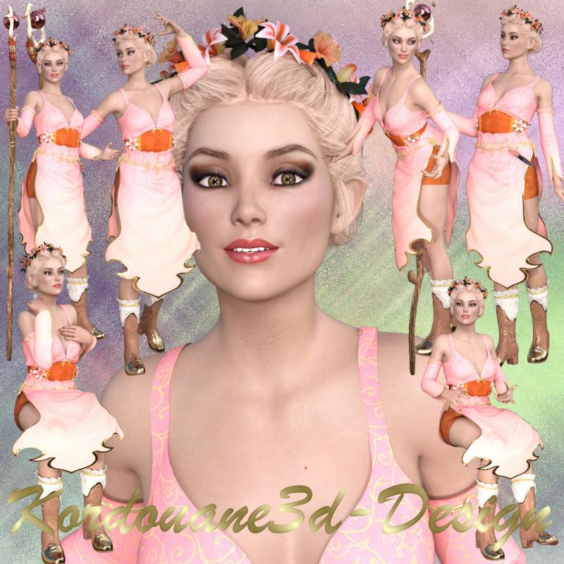 Valériane femme elfe (Tube-render-image)