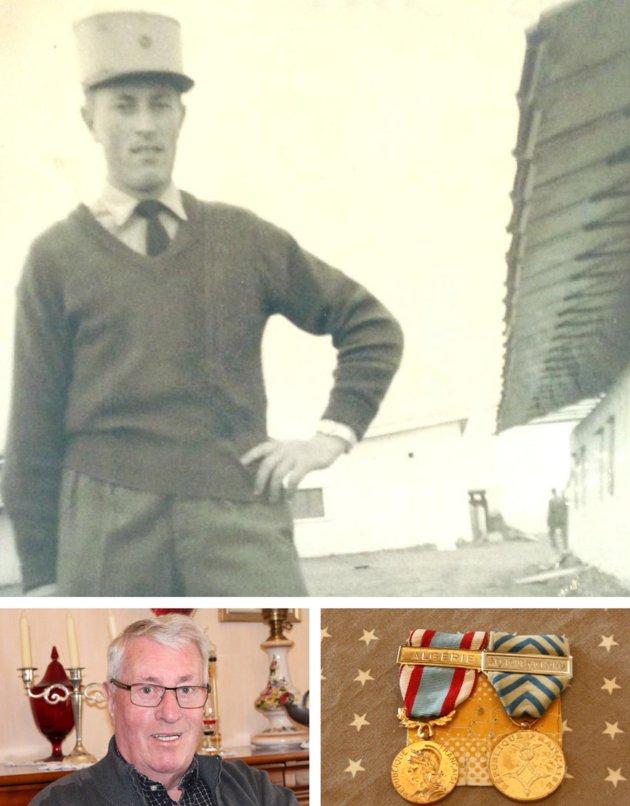 André Le Dauphin à gauche, en 1963, et aujourd'hui, en bas, à 74ans. En bas, à droite, la médaille de reconnaissance qu'il a obtenue, n'ouvrant droit à aucun privilège. -