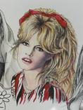 Brigitte Bardot, acrylique et encre sur papier
