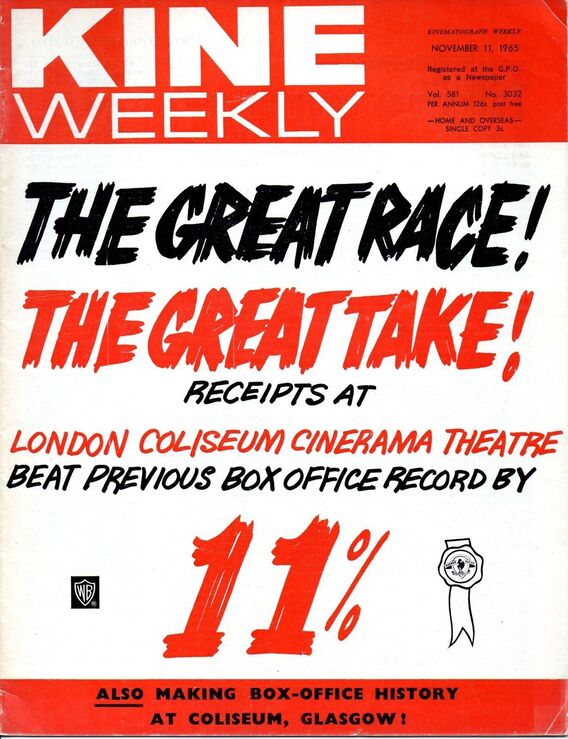 THE GREAT RACE BOX OFFICE UK 1965