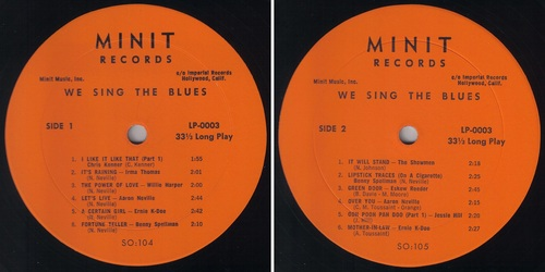 WE SING THE BLUES - MINIT RECORDS LP-0003 - 1962 -