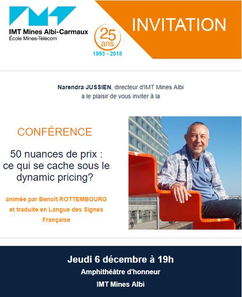 """6 décembre - IMT Mines Albi-Carmaux - CONFÉRENCE """"50 nuances de prix : ce qui se cache sous le dynamic pricing? """""""