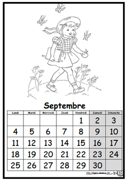 Calendrier collectif noir et blanc; dixmois, eklablog, rentrée, septembre, elève, espace, temps