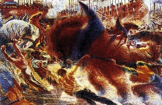 Umberto Boccioni, La cité du cheval, 1910
