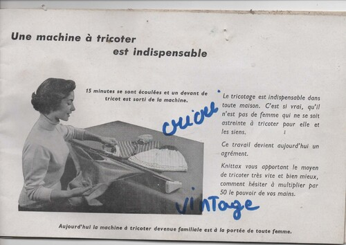ancienne documentation pour machine a tricoter knittax