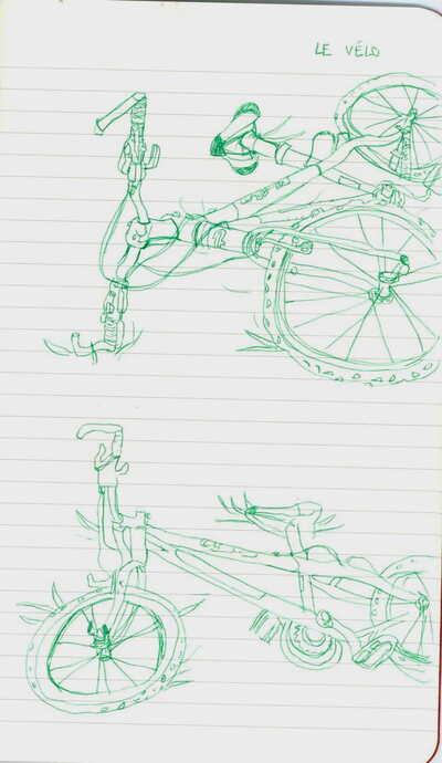 nature morte et vélo vert