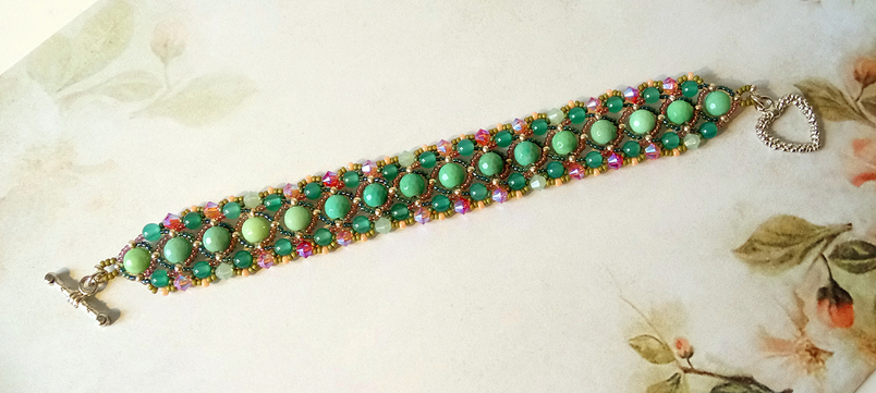 Bracelet tissé Pierre de Chrysoprase, Jade et Cristal de Swarovski / Fermoir Toggle coeur plaqué argent