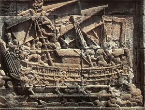 Voilier javanais sur un bas-relief du temple bouddhiste de Borobudur (photo : Maximilien Bruggmann), DR