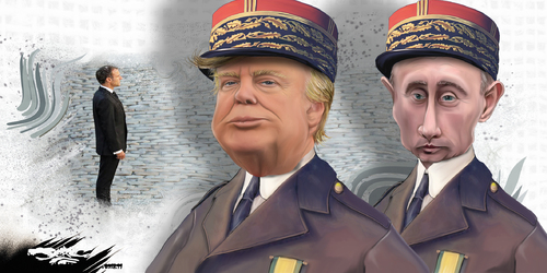 dessin de JERC et AKAKU du lundi 12 novembre 2018 caricature Donald Trump Vladimir Poutine maréchaux Macaron Pétain câble www.facebook.com/jercdessin @dessingraffjerc
