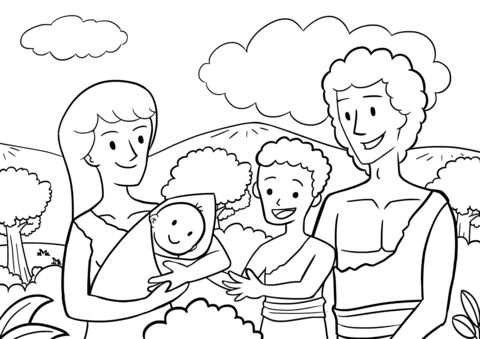 First Children of Adam and Eve coloring page | Free Printable Coloring Pages