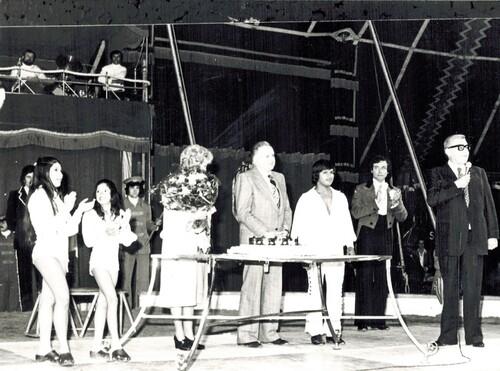 Jean et Anick Richard sur la piste du cirque Jean Richard