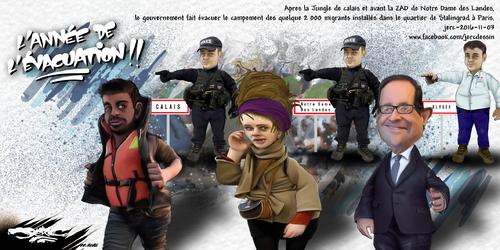 dessin de JERC jeudi 03 novembre 2016 caricature François Hollande Ils évacuent, nous évacuons ... www.facebook.com/jercdessin
