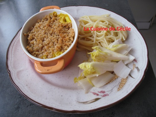 Crumble de cabillaud au lait de coco et curry