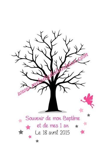Poster arbre à empreintes souvenir baptême fée et étoiles