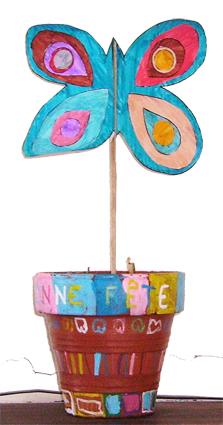 Papillon de décoration en pot