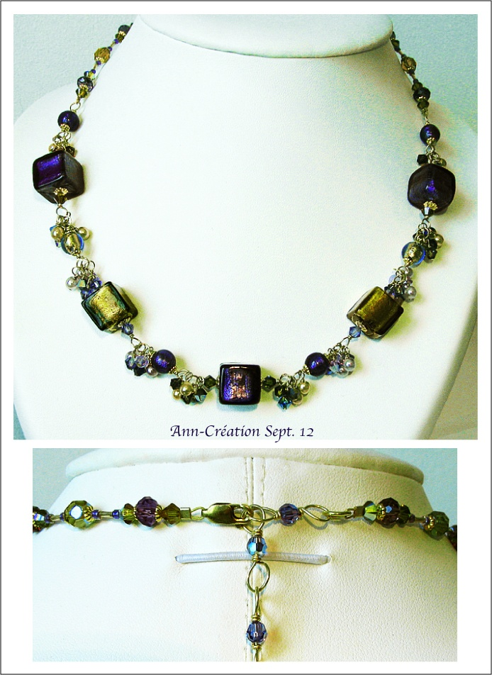 Collier Grappe Verre de Murano, Cristal de Swarovski / Plaqué Or 14kt Gold Filled