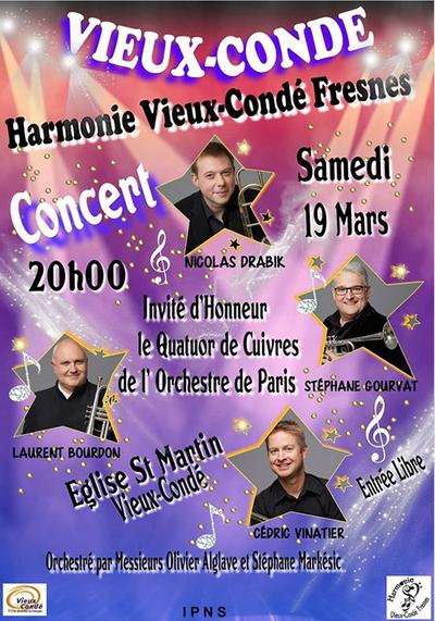 Concert de l'Harmonie, à Vieux-Condé le 19 mars