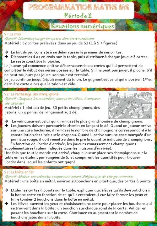 Programmation mathématiques Période 2 MS/GS