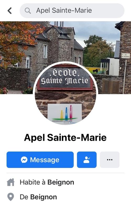 Suivez l'APEL de l'école Ste Marie sur Facebook