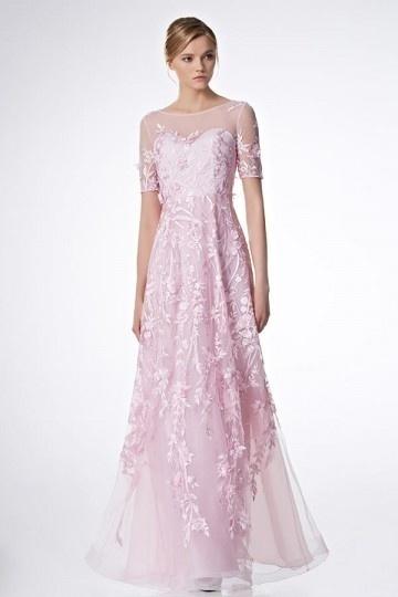 Robe mariée rose bonbon florale à manche courte transparente