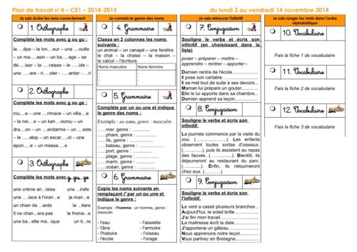 Plan de travail CE1 2014-2015 numéro 4