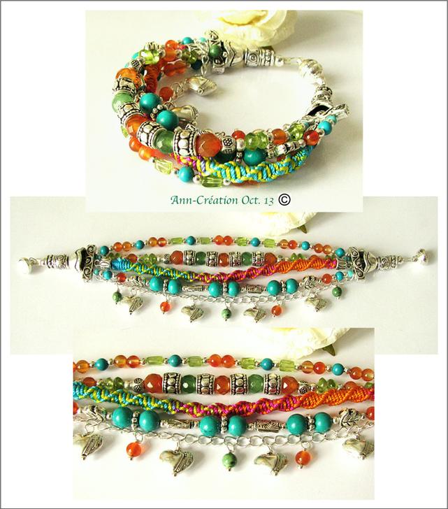 Gipsy Orange-Turquoise - Bracelet Multi rangs Cornaline, Turquoise, Aventurine, Péridot / Plaqué argent