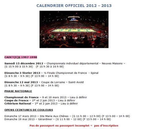 Calendrier Cadets(es) 2012-2013