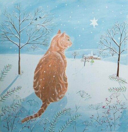 Tableau du samedi : Chat roux en paysage d'hiver