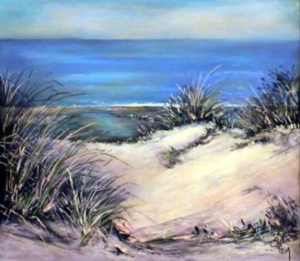 Dessin et peinture - vidéo 1941 : Dunes de sable sur la côte d'opale. - Marine réalisée au pastel.