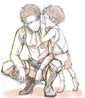 SNK. I love pics where Eren is still a kid and Levi is an adult. MMM: