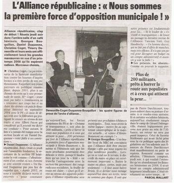 01 20 janvier Alliance Républicaine 1ére Force d'opposition