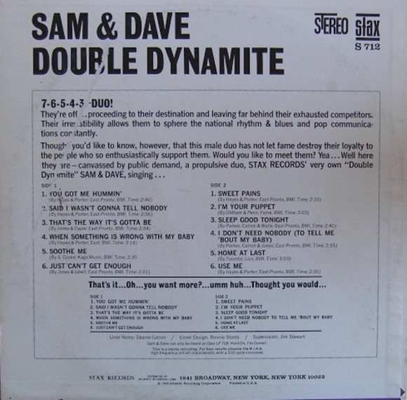 "Sam & Dave : Album "" Double Dynamite "" Stax Records S 712 [ US ]"