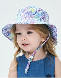 kiskissing wholesale kid print drawstring bucket hat