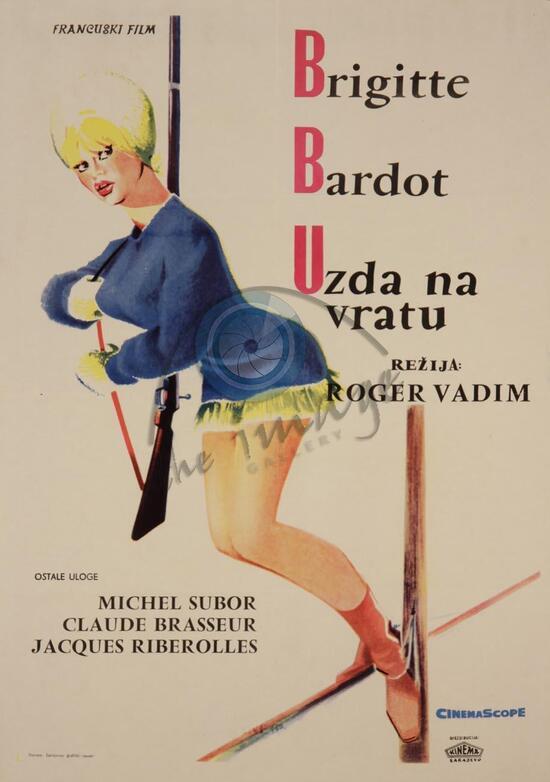 LA BRIDE SUR LE COU - BOX OFFICE BRIGITTE BARDOT 1961- AFFICHE YOUGOSLAVE