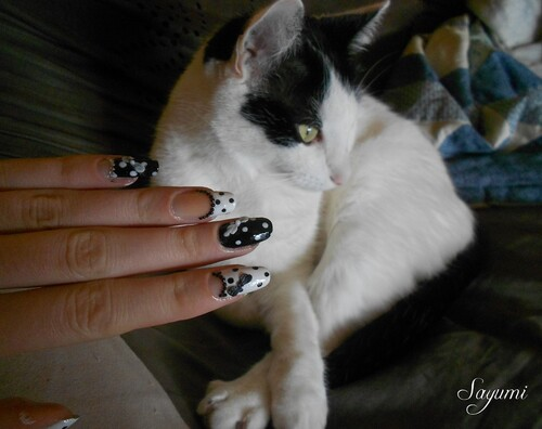 Nail Art Black&White 3D style japonais