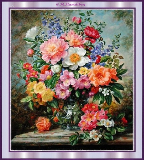roses en cadre